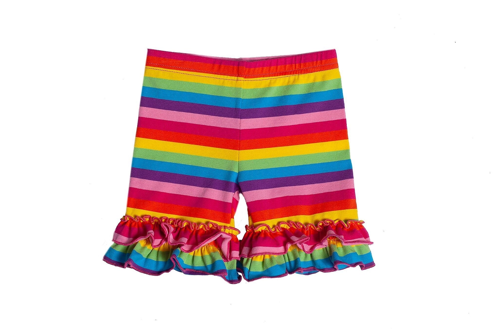 Rainbow Stripe Ruffle Shorties