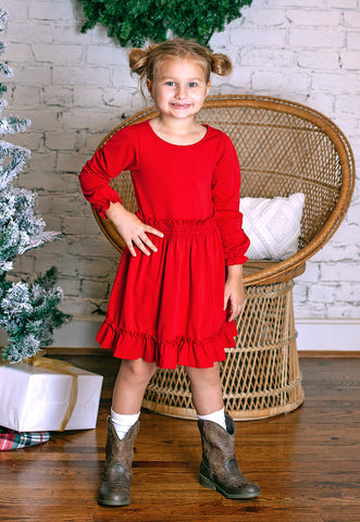 Red Long Sleeve Charlotte Dress