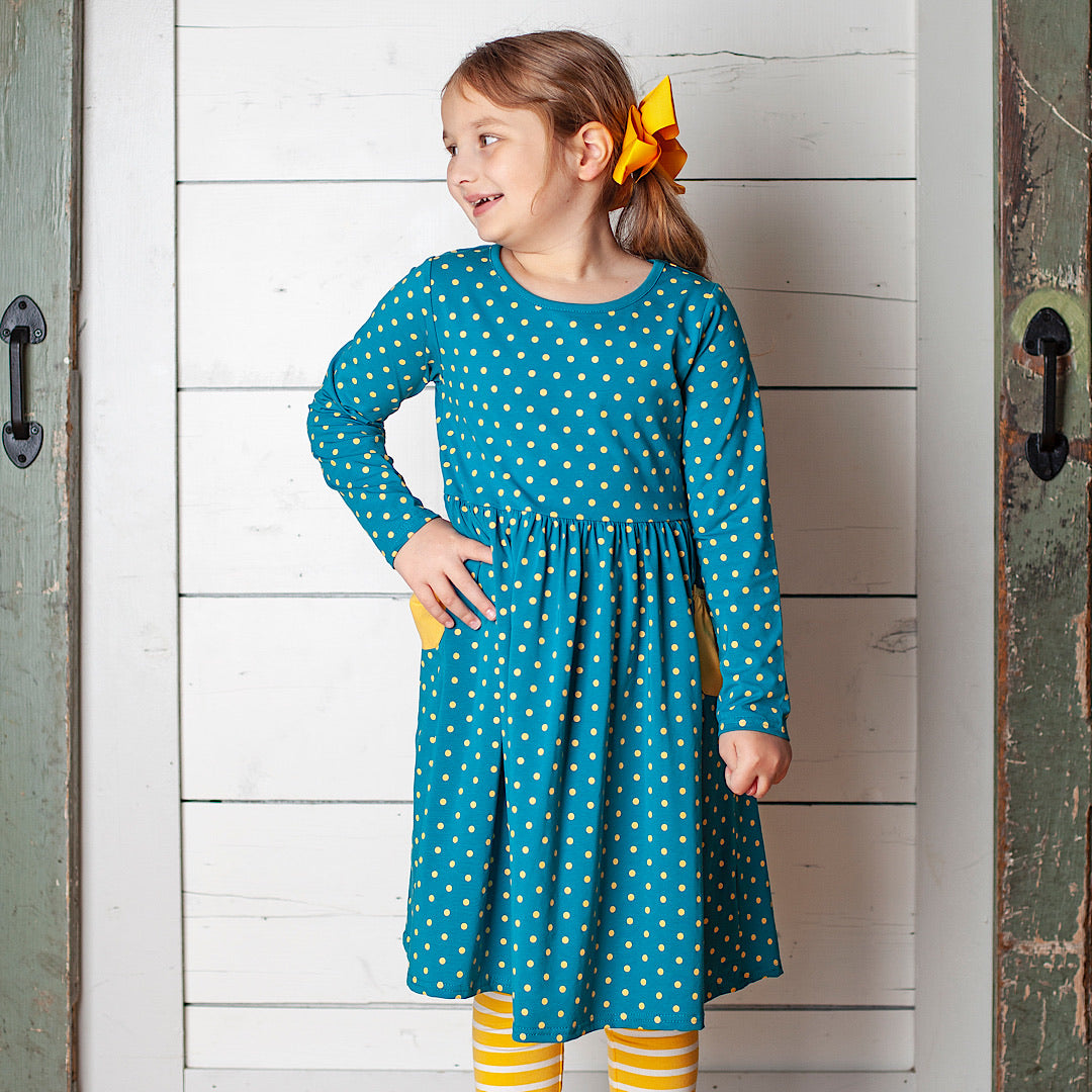 Turquoise w/ Sunflower Yellow Polka Dots Bailey Lap Dress