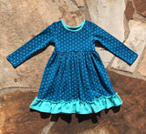 Peacock w/ Sea Wave Polka AnnaLynn Dress