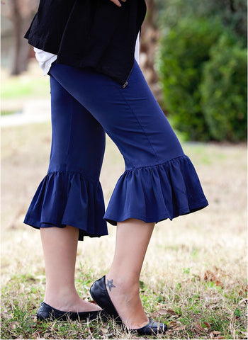 Navy Women's Single Ruffle Capris