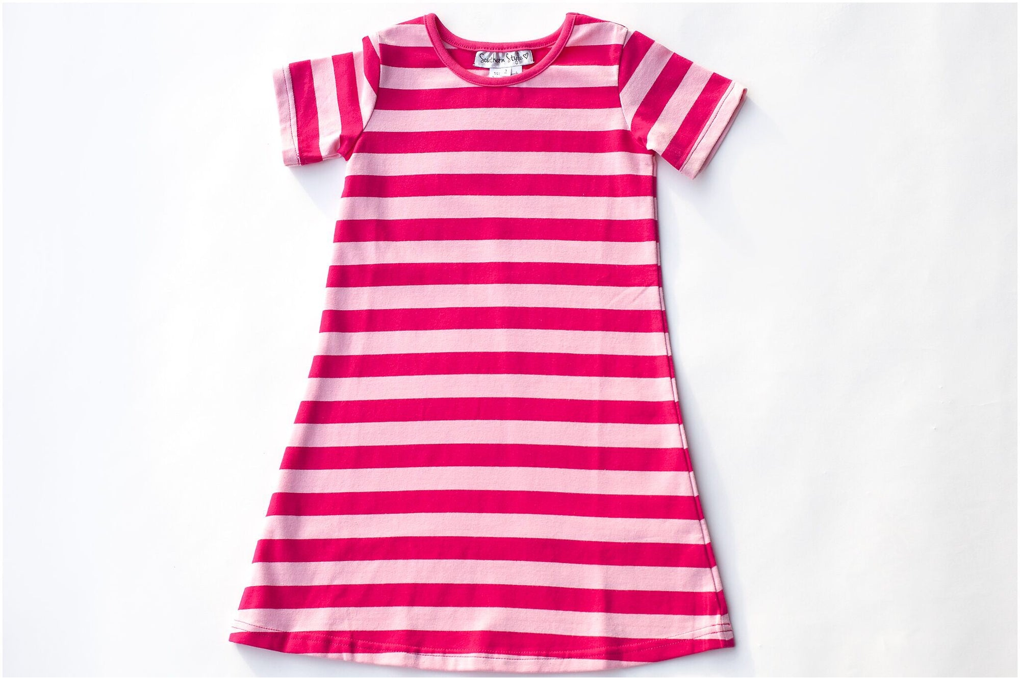Bright Pink/Light Pink Stripe Short Sleeve Gown