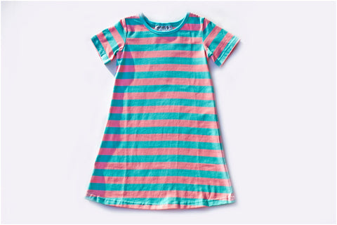 Aqua/Peach Stripe Short Sleeve Gown