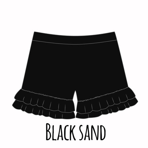 *PRE-SALE* Black Sand Ruffle Shorties