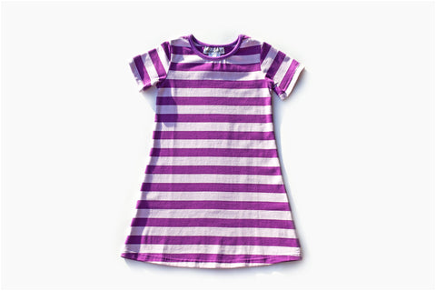 Purple/Light Purple Stripe Short Sleeve Gown