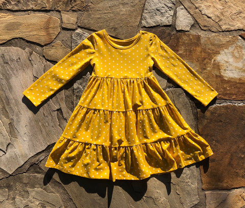 Mustard Polka Long Sleeve Suzy May Dress