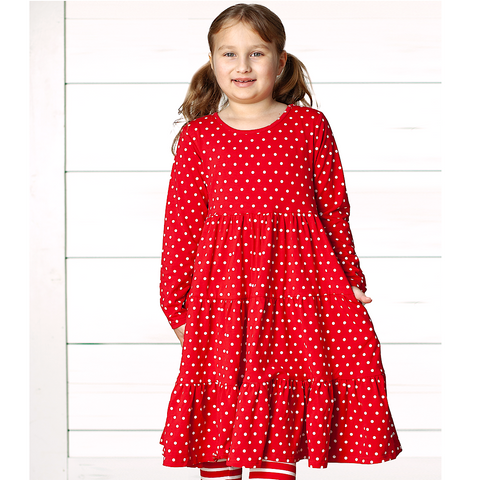 Red Polka Long Sleeve Suzy May Dress