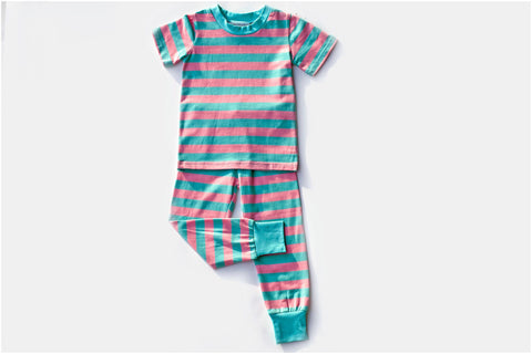 Aqua/Peach Stripe Short Sleeve PJ Set