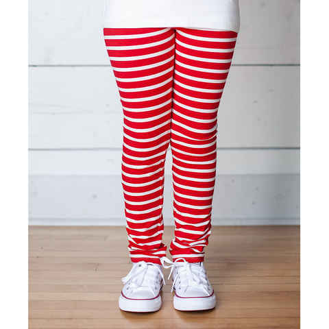 Red and White Stripe Gathered Leggings Pants
