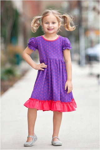 Purple Blossom Annalise w/ Pink Flurry Polka Dots