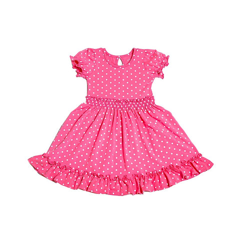 Snapdragon Pink w/ Ivory Polka Dots Charlotte Dress