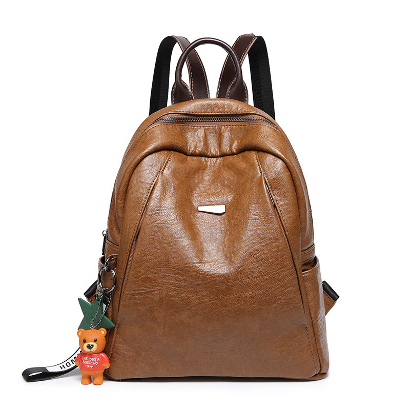 4587f8d4f6af Women New Fashion PU Leather Backpack Simple College Style School Bags  Satchels with Pendent Ornament ...