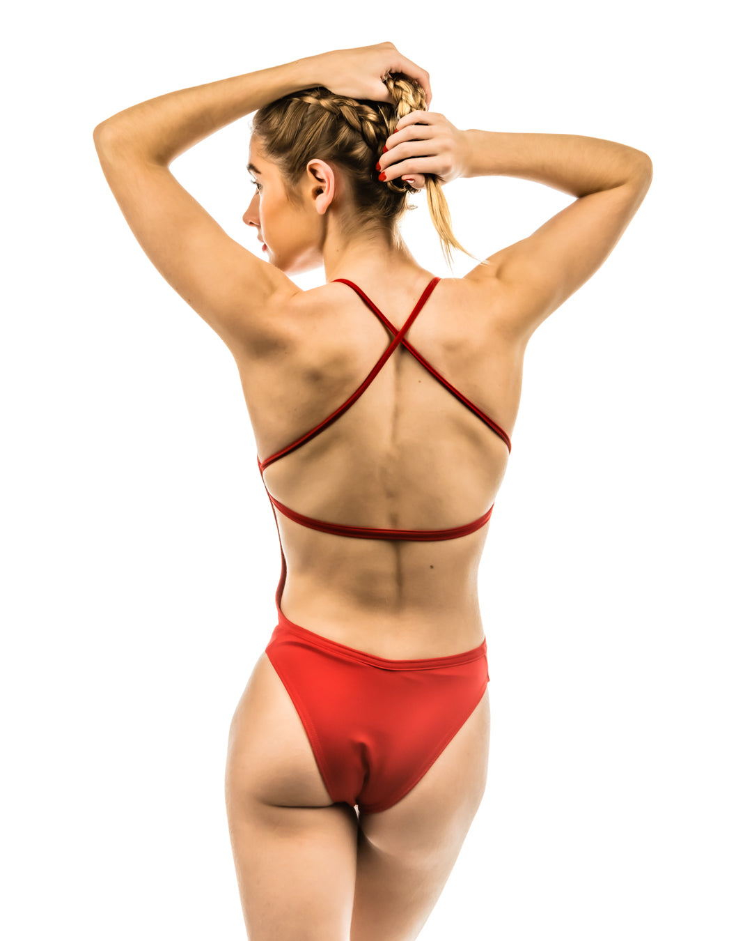SeaChange Swimsuit in Starfish Red (open back)