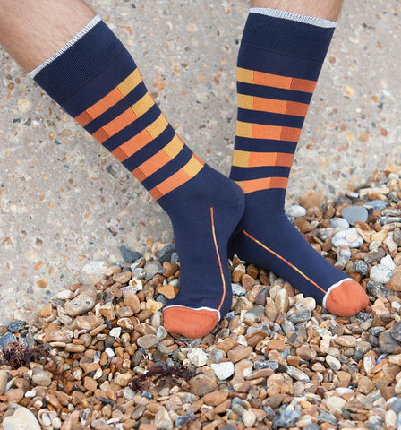 Peper Harow Navy Quad Stripe Luxury Men's Socks