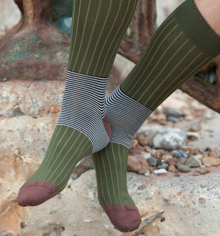 Peper Harow Oxford Stripe Sage Luxury Socks