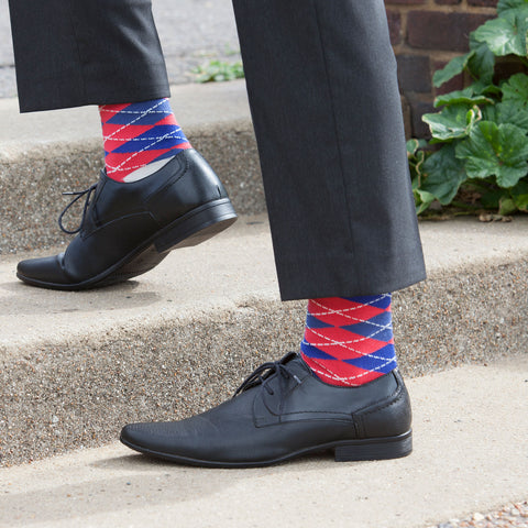 Red Argyle Dress Socks