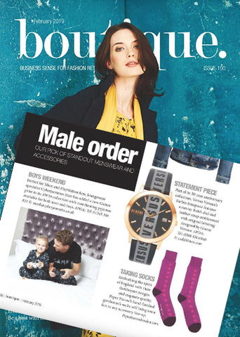 Purple Starfall Socks Featured In Boutique Magazine