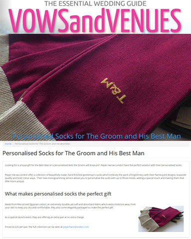 Peper Harow Personalised Luxury Men's Socks Featured In Vows and Venues