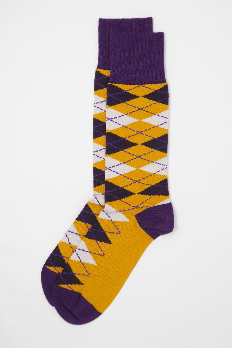 Argyle Men's Socks - Mustard