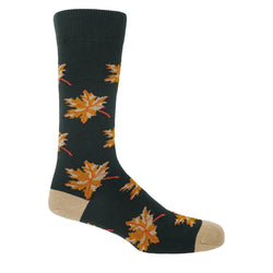 Gold, yellow and orange maples leaves on deep grey socks