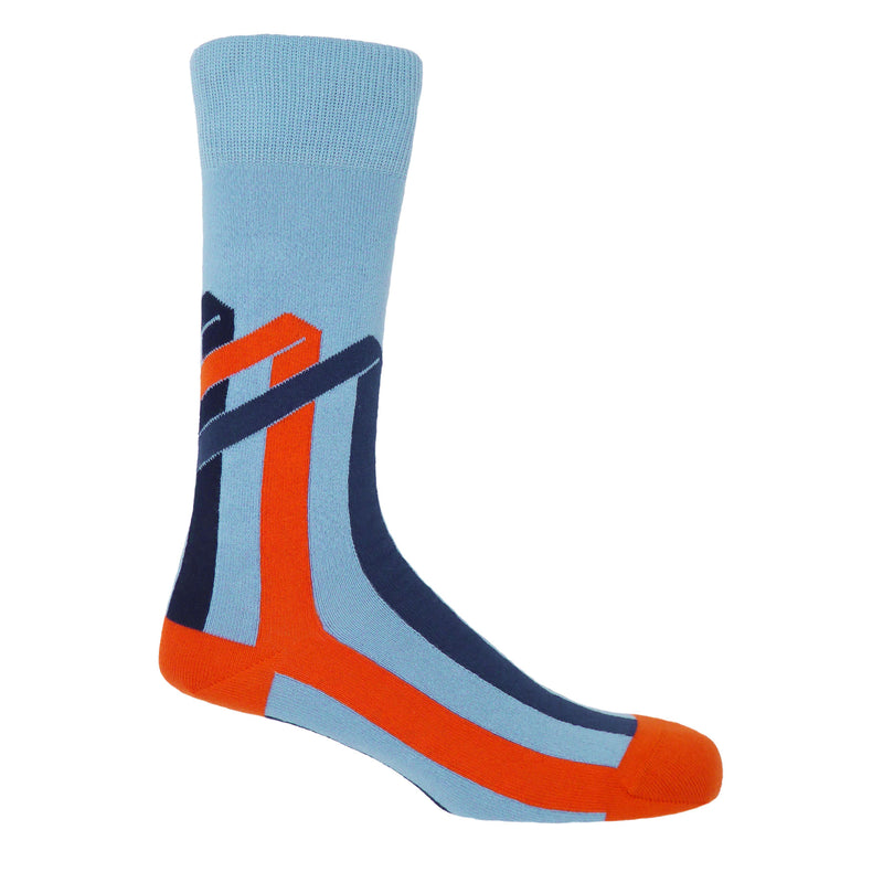 Ribbon Stripe Sky Luxury Men's Socks
