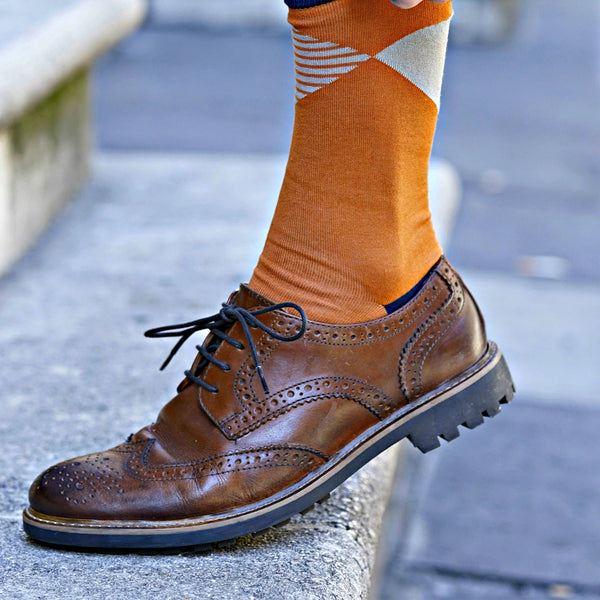 Big Diamond Men's Socks - Orange