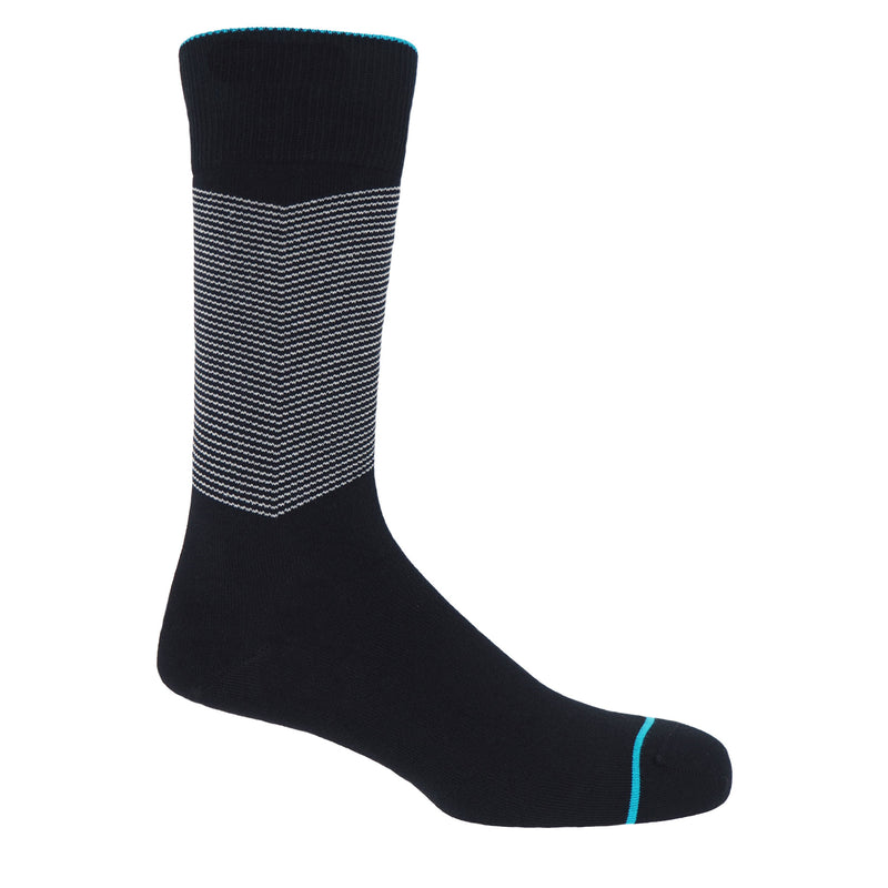 Onyx men's chevron socks, with a white V striped pattern down the calf, and a turquoise line circling the toes