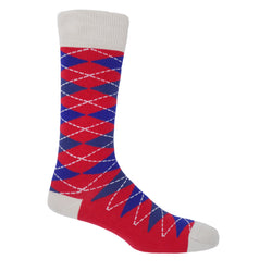 Crimson Argyle Luxury Men's Socks