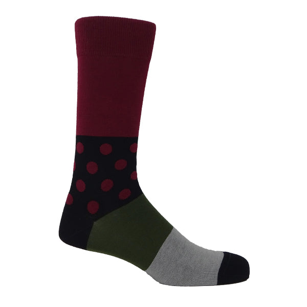 Burgundy & Black Mens Socks Personalised Socks