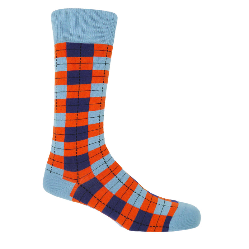 Peper Harow Checkmate Sky Luxury Cotton Men's Socks