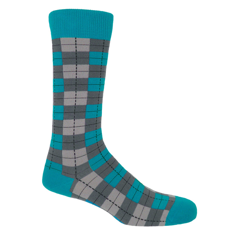 Peper Harow grey checkmate men's socks, with alternating light and dark grey squares, contrasting with blue and dark grey squares