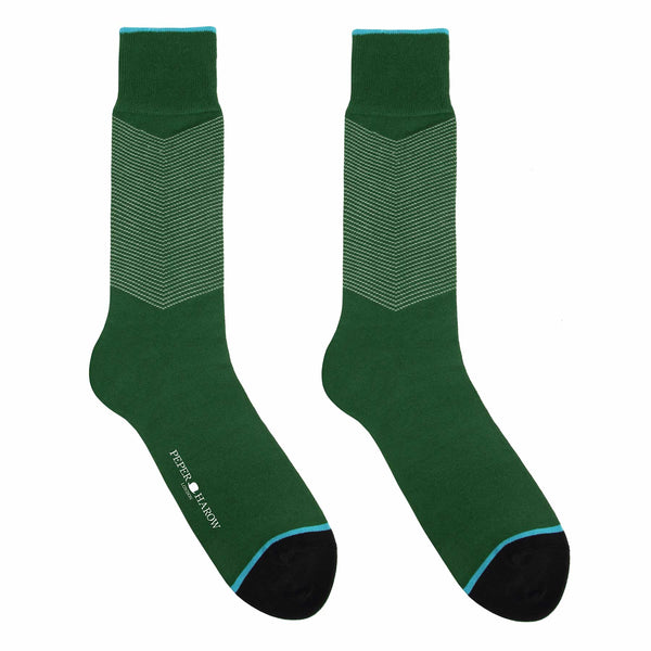 Chevron Green Men's Luxury Socks