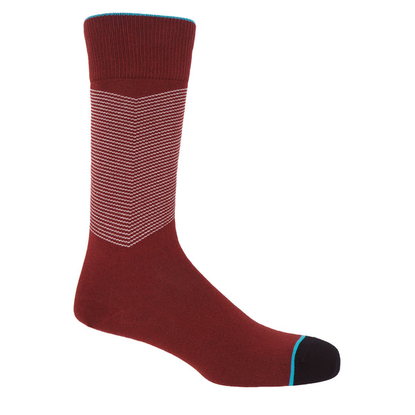 Garnet men's chevron socks, with a white V striped pattern down the calf, and a turquoise line circling the toes