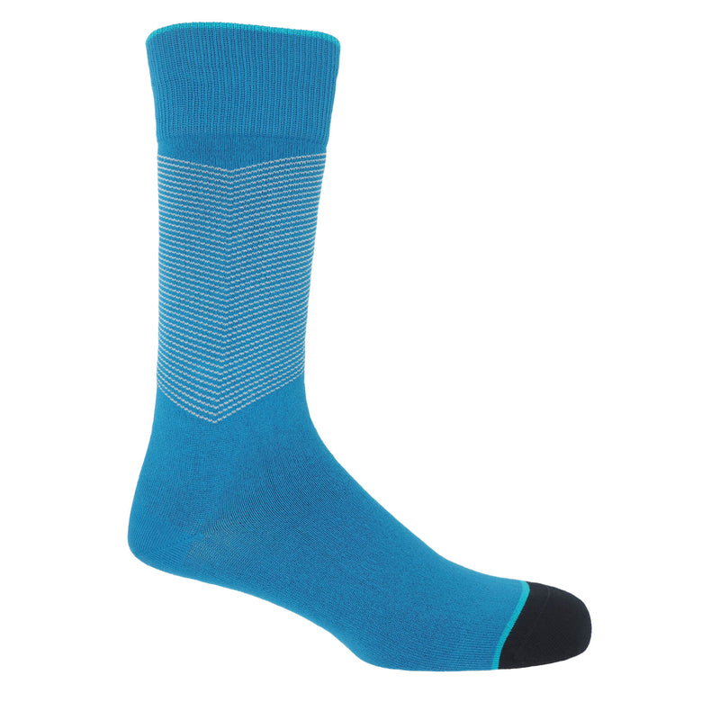 Sapphire blue men's chevron socks, with a white V striped pattern down the calf, and a turquoise line circling the toes