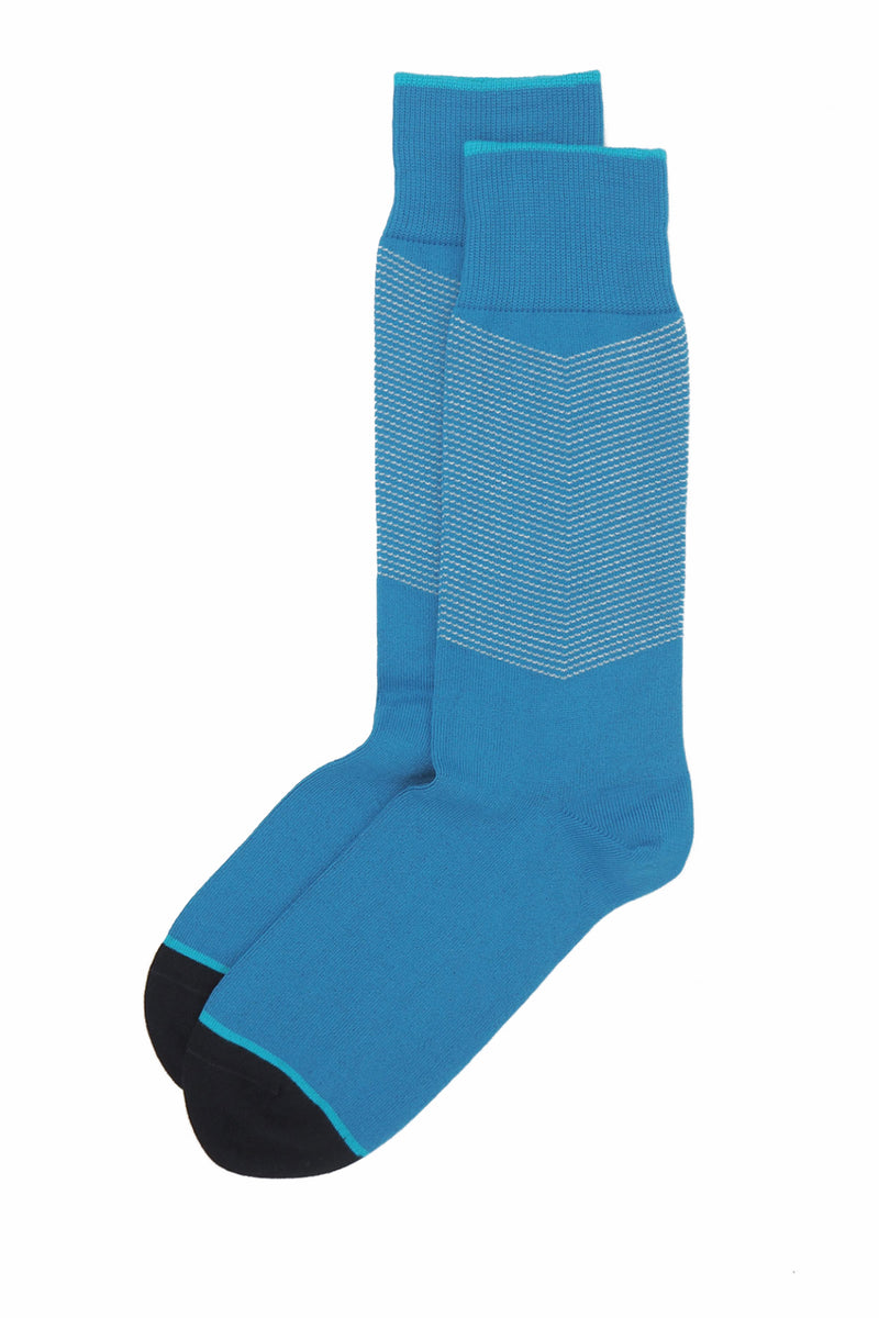 A pair of Sapphire blue men's chevron socks, with a white V striped pattern down the calf, and a turquoise line circling the toes and the top of the cuff