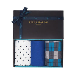 Chill Men's gift box by Peper Harow containing White Pin Polka, Cobalt Square Mile and Grey Checkmate Men's luxury socks