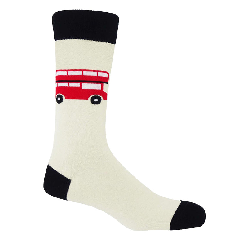 Peper Harow cream London Bus men's mercerised egyptian cotton socks with a red london bus on the calf