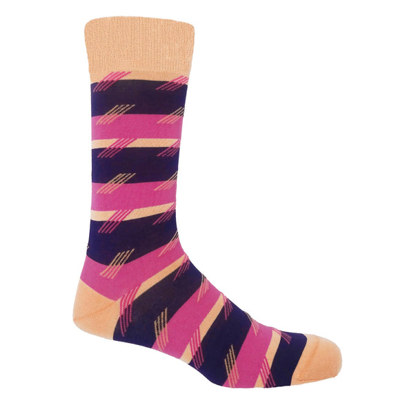 Diagonal Stripe Men's Socks - Plum