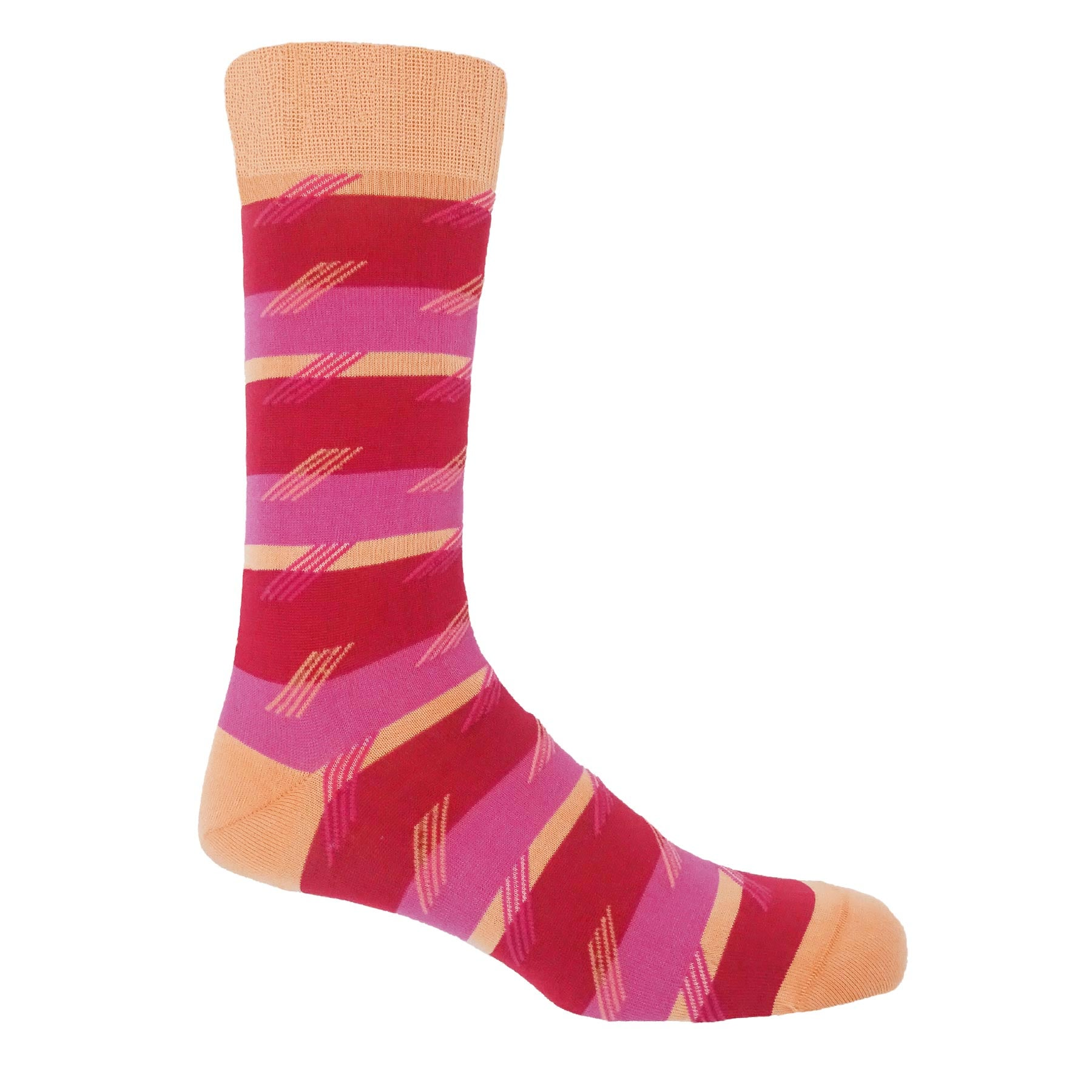 Diagonal Stripe Men's Socks - Rose