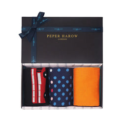 Peper Harow Dazzling ladies gift box containing Black london bus, navy mary and orange victoria women's socks