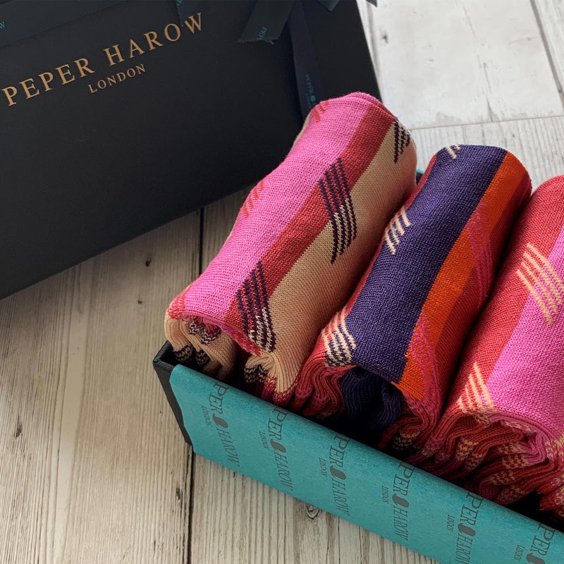 Diagonal Stripe Men's Socks - Crimson Gift Box