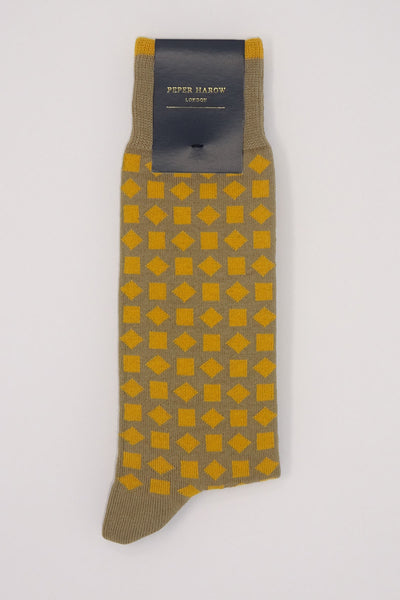 Diamonds Men's Socks - Mustard