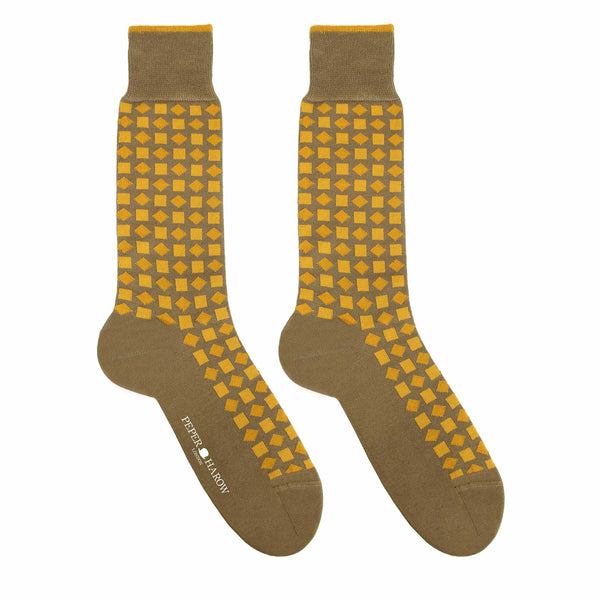 Diamonds Mustard Men's Luxury Socks