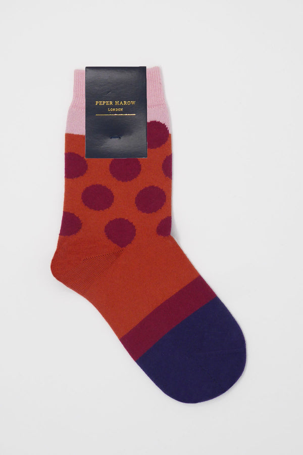 eleanor Terracotta women's luxury socks