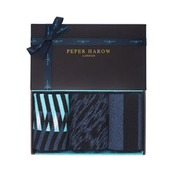 Elegant men's gift box by Peper Harow featuring Symmetry, Pandemonium and Equilibrium organic cotton socks
