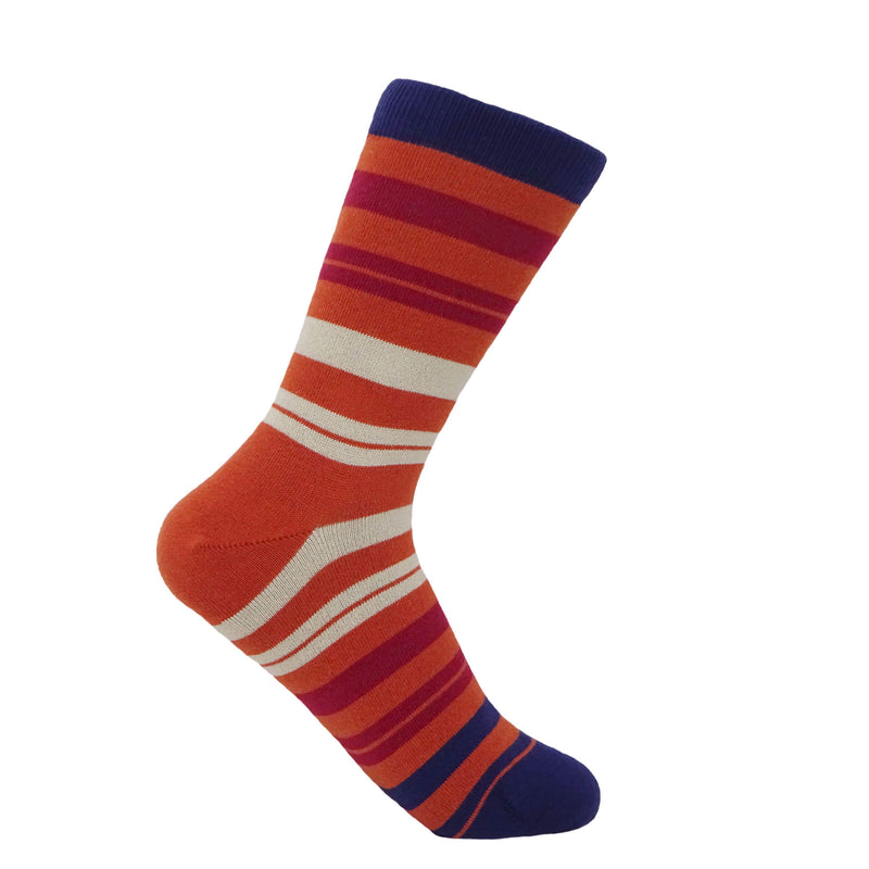 Elizabeth ginger women's socks featuring a navy stripe across the cuff and toe, with multicoloured terracotta, burgundy and beige stripes