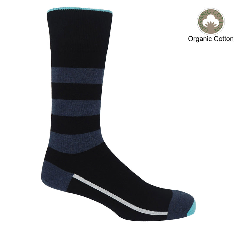 Black equilibrium men's socks by Peper Harow featuring a white line along the foot, a navy toe and heel and three navy stripes down the calf