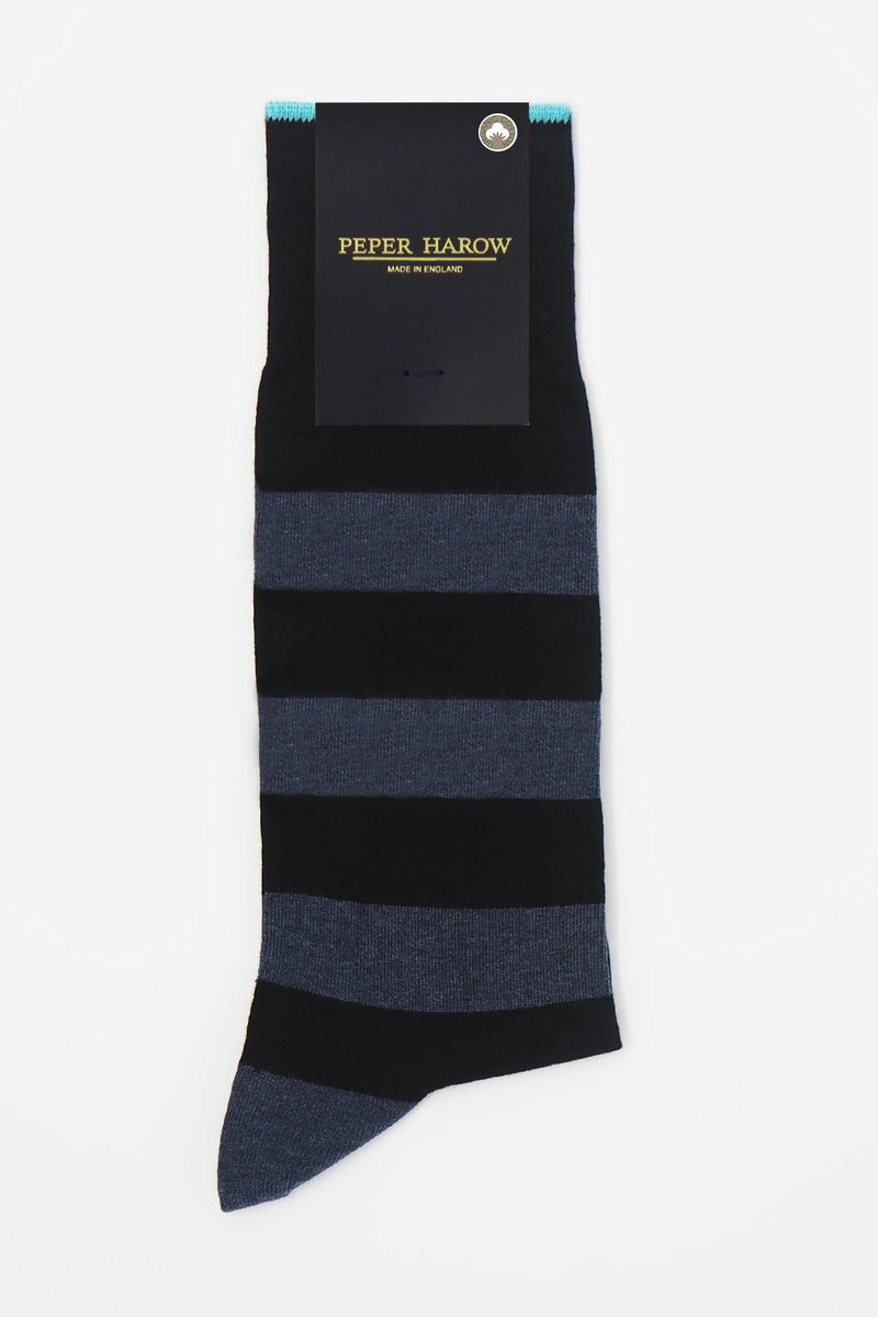 Black equilibrium men's luxury socks by Peper Harow in packaging