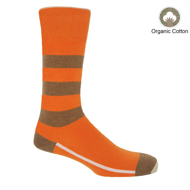 Orange equilibrium men's socks featuring a white line along the foot, a light brown toe and heel and three light brown stripes down the calf