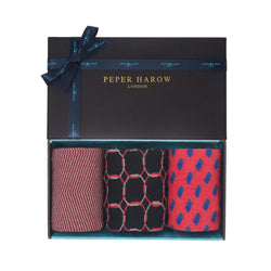 Fire Men's gift box by Peper Harow containing Chevron garnet, Linked black and Disruption scarlet men's luxury cotton socks